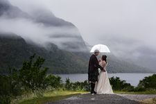 Rainy wedding at Glenfinnan, Scottish Highlands