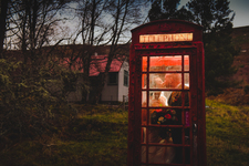 Red Telephone Box Wedding Kiss